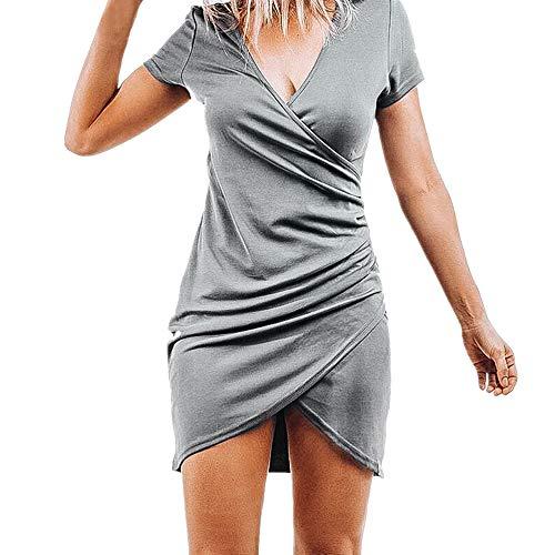 BHYDRY Frauen Sommer V-Ausschnitt Kurzarm Unregelmäßiges Minikleid Abend Partykleid