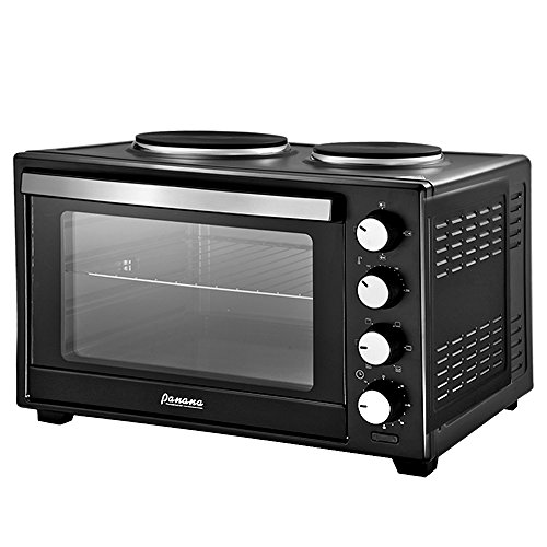 PananaHome 38L Mini Oven with Electric Grill and Double Hotplates 1600W Portable Compact Cooker Grill Baking Cooking Roast Kitchen