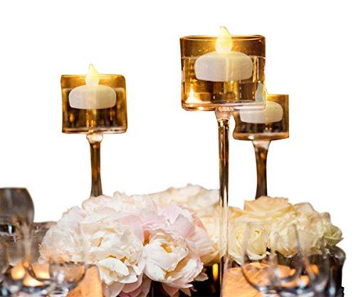 12 Stück Flammenlos Flackern Teelichter / Schwimmende Kerzen für Mittelstücke, Langes Leben Wasser Aktiviert LED Teelichter für die Hochzeit Party Blumendekor Batterie im Lieferumfang (Warmes Gelb)