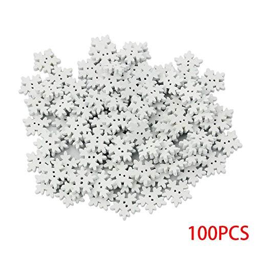100pcs 18mm bois flocon de neige de noël boutons bricolage artisanat blanc flocons de neige en bois à coudre boucle
