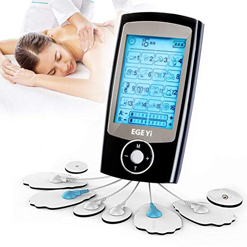 Masajeador y estimulador de pulsos TENS para el alivio del dolor con 16 modos,Almohadillas Electroestimulador Recargable Electrodo Estimulador de Acupuntura,8 electrodos Pads FDA y canales A/B para