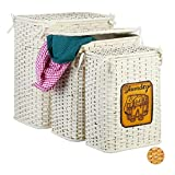 Relaxdays Bambus Wäschetruhe 3er Set, Wäschekorb mit Deckel, herausnehmbarer Stoffbezug, luftdurchlässiger Korb, weiß