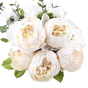 StarLifey 1 Pflanzen Blumenstrauß Seide Pfingstrosen Künstlich Blumen, Bouquet Dekoration, ideal für die Hochzeit, Braut, Party, Zuhause, Büro Dekor DIY Kunstblumen Weiss