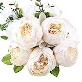 StarLifey Bouquet de Fleurs Artificielles de Pivoine Fleurs en soie Décoration de maison (Blanc)