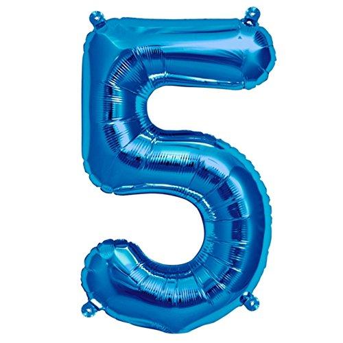 ballonfritz® Ballon Zahl 5 in Blau - XXL 40