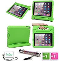 Luka Carry Maniglia Caso/ Custodia di EVA con Supporto e Manico/ Custodia Protettiva Antiurto con Supporto per Bambini per Apple ipad mini , salviette schermo e cordicella del telefono e dello stilo Incluse (Ipad Mini 1 2 3, verde)