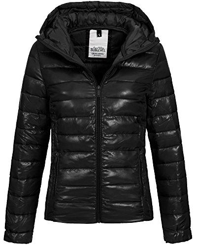 Sublevel Damen Steppjacke LSL-254 Kapuze Black