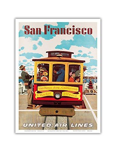 1957 Poster (Pacifica Island Art San Francisco-United Air Lines-Van Ness, Kalifornien & S. Markt Straßen Kabel Auto-Vintage Airline Travel Poster von Stan Galli c.1957-Master Kunstdruck 9