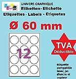 100 Planches de 12 étiquette rondes diamètre 60 mm = 1200 étiquettes Ø 60 - Blanc Mat - pour imprimantes Laser et Jet d'encre - Feuilles A4 autocollantes référence univers UGEROND60
