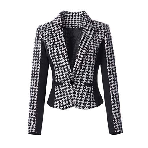 Yieks Damen Kurzer Taillierter Blazer mit Hahnentritt Muster, Schwarz/Weiß 42 (Herstellergröße: 3XL) -