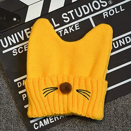 ChildHat 2018 Hut für Kinder,Babymütze Strickmütze Babykindmütze Katze Bart Neugeborene, gelb, geeignet für Kopfumfang ()