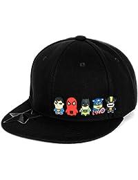 ililily Cute Superheroes Rubber Charms Flat Bill Snapback Hat Baseball Cap