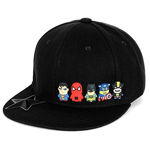 ililily Cute Superheroes Rubber Charms New Era Style Snapback Hat Baseball Cap (ballcap-1413-1)