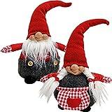 matches21 Weihnachtliche Wichtel Deko Figuren rot / weiß aus Plüsch & Textil 2er Set je 30 cm Weihnachtswichtel