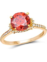 Johareez Gold Plated Designer Orange Solitaire Cubic Zirconia Ring For Women