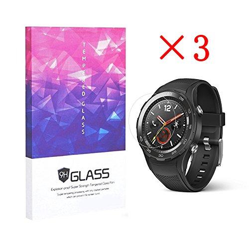 elecguru 3x Huawei Watch 2Protector de pantalla Crystal Clear 9H 2.5d templado vidrio Protector de pantalla Foils, antihuellas, antirreflectante, sin burbujas Protector (3paquetes)