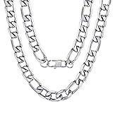 ChainsPro Figarokette Herren Halskette 316L Edelstahl Silber Sterlingsilber O Kette Panzerkette ohne Anhänger Herrenschmuck 18'/20'/22'/24'/26'/28'/30' Lang (13mm Breit, 3 Farbe wählbar)
