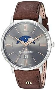 Maurice Lacroix Men's Analog Quartz Watch with Leather Calfskin Strap EL1108-SS001-311-1