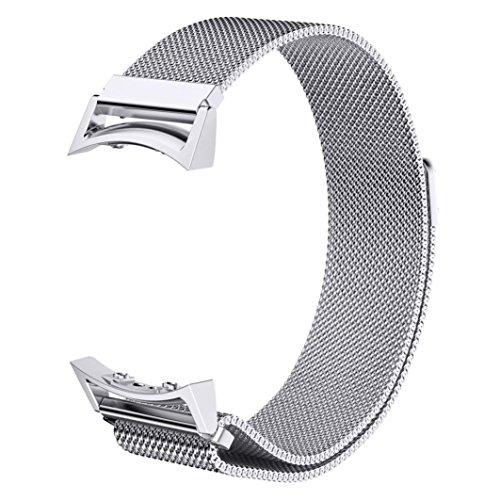 Silber Sport Armband (V-MORO Ersatz Riemen für Gear S2 Armband, Silber, voll magnetischer Schnallenverschluss, Netz, Schlaufe, Mailänder Edelstahl Armband mit Adapter für Samsung Gear S2 Smart Watch (Mailändische Schlaufe Silber Groß))