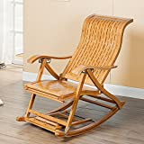 Deckchairs DUO Multi Position Lounge Leisure S Typ Bambus Schaukelstuhl Senioren Siesta Stuhl Lazy Stuhl mit Kissen in 6 Stufen adjuste