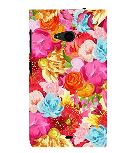 Pink Floral Pattern 3D Hard Polycarbonate Designer Back Case Cover for Nokia Lumia 535 :: Microsoft Lumia 535