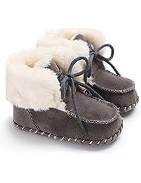 Sisttke Baby Boys Girls Cozy Fleece Booties Winter Warm Plush Toddler Infant Snow Boots Non-Skid Bottom