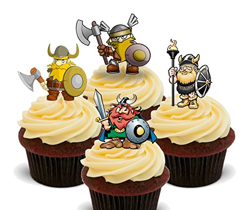Vikings Warriors Edible Cupcake Toppers - Stand-up Wafer Cake Decorations (Pack of 12)