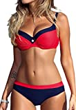 CROSS1946 Damen Elegant Bademode Push Up Zweiteiler Swimsuits Badeanzug Bikini-Set Rot Large