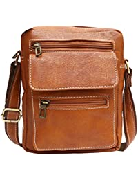 BLUWHALE Unisex PU Sling Bag (Tan)