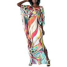 f0e5e249799e Copricostume Mare Donna Vestito Lungo Estate Boho Hippie Kaftan Tunica  Etnica Kimono Abito da Spiaggia per