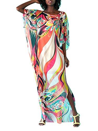 Copricostume Mare Donna Vestito Lungo Estate Boho Hippie Kaftan Tunica Etnica Kimono Abito da Spiaggia per Costumi da Bagno Stampato Bikini Cover Up