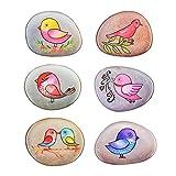 WOZOW Magneti del Frigorifero,Adesivi per Frigorifero,Calamite Frigo,Adesivi magnetici per Frigorifero di Uccello in Pietra Dipinta Serie,Parete Adesivi Art 6 Pezzi