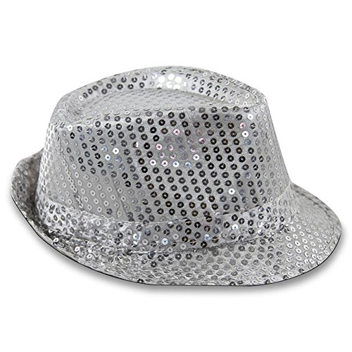 Pailletten Silber Hut (COOLER TRILBY PARTY HUT GLITZER PAILLETTEN)