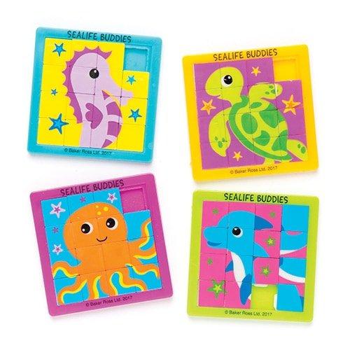 Baker Ross Puzles deslizantes de Animales Marinos para niños (Paquete de 4) para Bolsas de cotillón