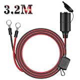 3.2M Zigarettenanzünder Stecker KFZ Verlängerungskabel 16 AWG 15 A -Stecker Adapter 12V/24VStromversorgung Kordel (O-ring)-MEHRWEG