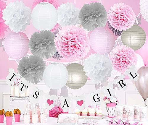 HappyField Rosa Grau Baby Dusche Dekorationen Mädchen Geburtstag Dekoration Rosa Grau Seidenpapier Blume / Es ist EIN Grirl Banner für Baby-Dusche Dekorationen Mädchen