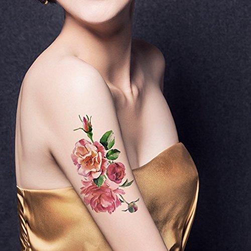 TAFLY Flor Tatuajes Temporales Rosa Pintura Al Óleo Floral Cuerpo Resistente Al Agua Tatuaje Pegatinas 5 Hojas