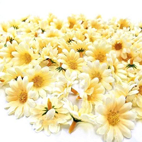 Jzk 100 margherita gerbera giallo finta fiorellini finti bomboniere coriandoli decorazione tavola matrimonio cerimonia natale fiore artificiale corolla fiore stoffa