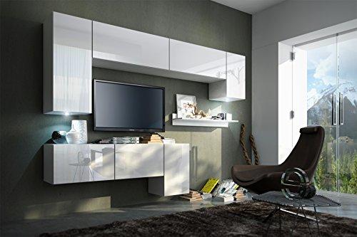 FUTURE 5 Moderne Wohnwand, Exklusive Mediamöbel, TV-Schrank, Neue Garnitur, Große Farbauswahl (RGB LED-Beleuchtung Verfügbar) (Weiß MAT base / Weiß HG front, Weiß LED)