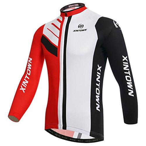 Baymate Unisex Fahrradbekleidung Thermo Radtrikot Langarm Windundurchlässig Fahrradtrikot Tops XL