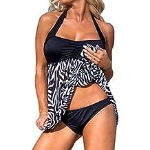 MáS El TamañO De Las Mujeres Empujar-Hasta Nadar Vestido Tankini Conjuntos De Traje De BañO De Dos Piezas Bikini