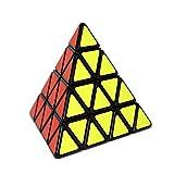 ShengShou 4 capa Pyraminx velocidad Puzzle Cubo 4x4 triangulo piramide cubo mágico Puzzle juguete + velocidad de giro un cubo stand (negro)