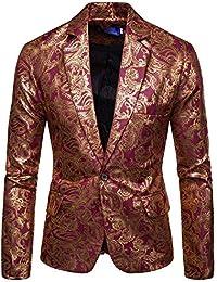 Logobeing Chaqueta de Traje para Hombre, Americana Hombre Casual Impreso Abrigo Estampado de Manga Larga