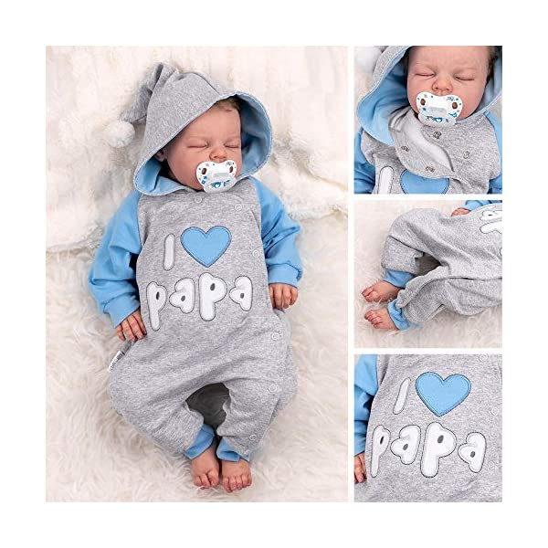 """Baby Sweets – Mono de bebé con capucha en diseño """"I Love Papa"""", como ropa de bebé para niñas & niños/mono para bebé como pelele para recién nacidos & niños pequeños diferentes tamaños 3"""
