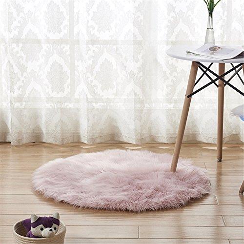 Vlies-matratze-auflage (LIYINGKEJI Faux Pelz Schaffell-Art-Wolldecke (60 x 60 cm) Faux-Vlies-Stuhl-Abdeckung Sitz-Auflage-weiche flaumige Shaggy-Bereichs-Wolldecken für Schlafzimmer-Sofa-Boden-runden Teppich (Rosa, 60 x 60 cm))