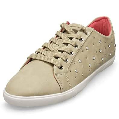 MQ23 Damen super bequeme Sneakers – Sportschuhe mit Ziersteinen 1039 Beige Gr. 41