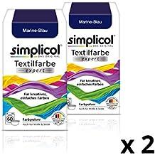 Simplicol Textilfarbe expert für kreatives, einfaches Färben I Marine-Blau 1708 I 2er