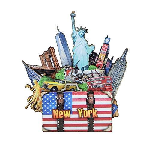 New York City Magnet 3D NYC Sehenswürdigkeiten mehrschichtiges gepresstes Holz