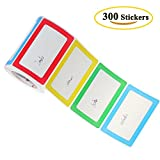 Benail Colorful Plain Name Tag Labels - 300 Stickers / 1 Roll - 3 1/2 X 2 1/4 --1 roll