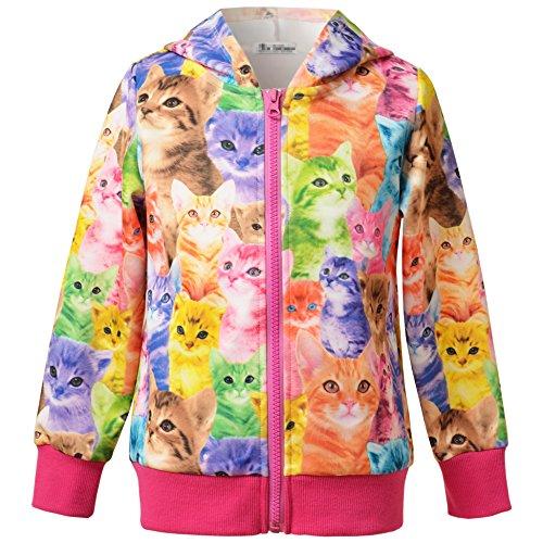 Perfashion Kinder Mädchen Reißverschluss Casual Hoodies Langarm Kapuzenjacke Jacket Top Sweatshirt - 3